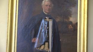 Historic paintings slashed as vandal ransacks town hall