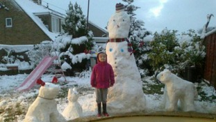 A girl and snow animals
