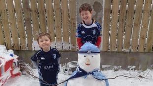 A Cardiff Blues snowman