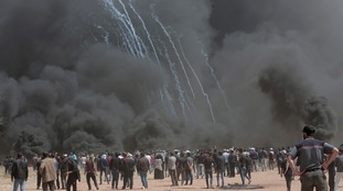 Israeli troops responded with live fire, pellets and water cannons.