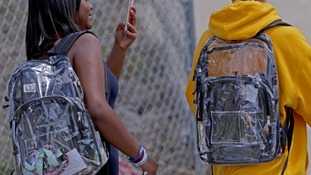 Parkland shooting survivors use school's new clear backpacks to send powerful messages