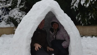 People in an igloo