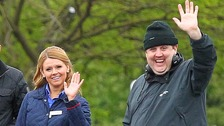 Peter Kay and Sian Gibson filming Car Share in 2016