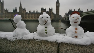 The miniature snowmen in front of the Houses of Parliament