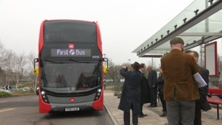 Bristol Metrobus close to arrival after trial run