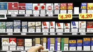 Cigarettes on display in a shop