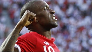 England's Jermain Defoe celebrates his goal during the 2010 World Cup Group C soccer match against Slovenia in Port Elizabeth June 23, 2010.