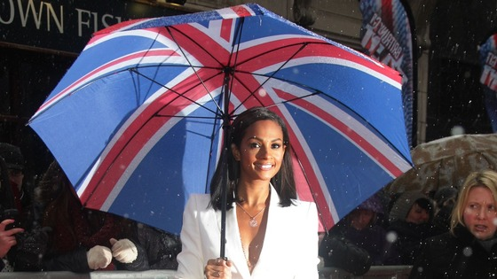 Britain's Got Talent Alesha Dixon braves the snowy conditions in central London.