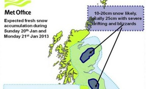 The Met Office map shows the likely areas of snowfall overnight and into Monday.