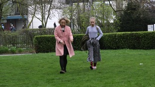 Sarah Hope takes a walk with her daughter Pollyanna