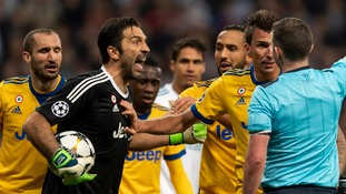 Juventus keeper Gianluigi Buffon not happy with English referee Michael Oliver after Champions League exit