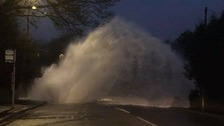 A burst water main sent gallons of water and concrete into the air in Cekheaton this morning.