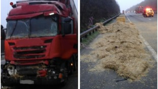 Picture of the lorry and hay on the road