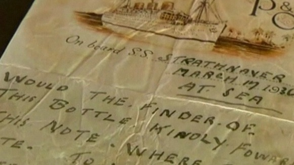 The 76-year-old note found inside the bottle
