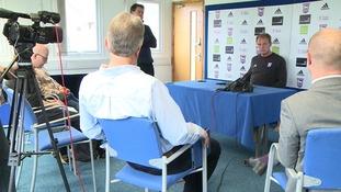 Bryan Klug talks to the media at Playford Road.