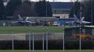 Royal Air Force personnel work on RAF Tornados at RAF Marham, in Norfolk