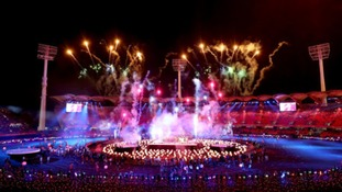 Fireworks are set off as the final performance takes place during the Closing Ceremony for the 2018 Commonwealth Games.