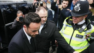TV presenter Anthony McPartlin (left) arrives at The Court House in Wimbledon, London to face charges of drink driving.