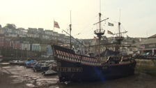 The Golden Hind ship replica at Brixham Harbour