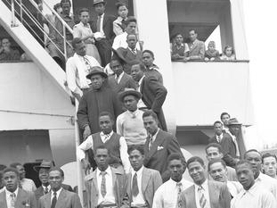 Jamaican men aboard the S.S. Empire Windrush.