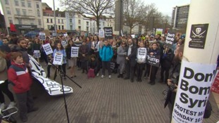 Hundreds protest in Bristol & Exeter against UK air strikes in Syria