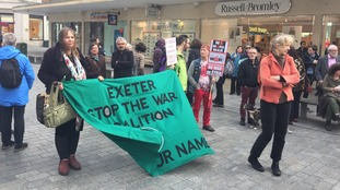 Nearly 40 people participated in the march in Exeter's Bedford Square.