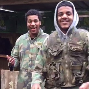 Ahmedeltigani Alsyed (left) and his brother Yousif during paintballing session at Blind Fire paintball facility in Surrey