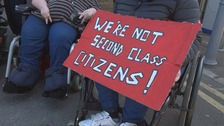 'We're not second class citizens.' Disabled rail passengers protest over the role of guards on trains