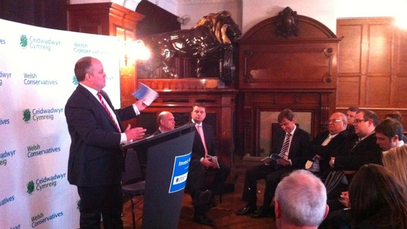 Opposition leader Andrew RT Davies at the policy launch in Cardiff