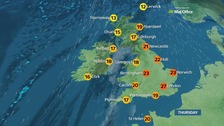 Weather: Mainly sunny and very warm