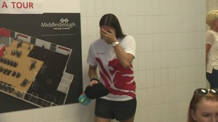 Aimee Willmott is overcome with emotion as she walks into a surprise reception to welcome her home