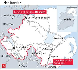 Map of the Irish border which has nearly 300 crossings