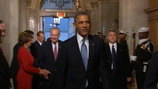 President Obama arriving at the US Capitol for the Inauguration