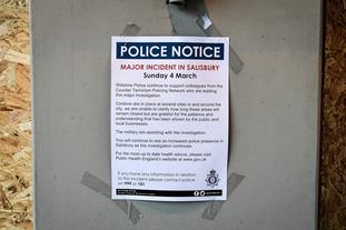 A police notice previously stuck to a business property in the Maltings.