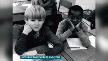 This picture was published all over the world after Enoch Powell said there was only one white child in a school in Wolverhampton