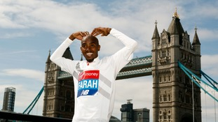 Sir Mo Farah during a Photocall infront of Tower Bridge.