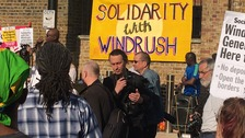 Rally in Windrush Square, Brixton show support for Windrush generation