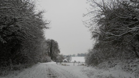 Country lane snow scene