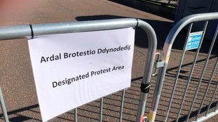 Protest area at Llandudno