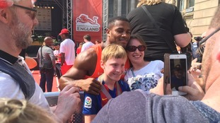 Fans getting photographs with Team England's stars