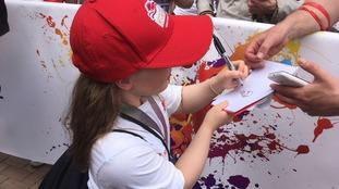 Northampton swimmer Ellie Robinson signing autographs