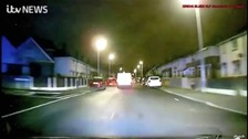 Astonishing moment van rams police car