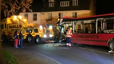 The bus crashed into the side of house in Prestbury, Cheltenham.