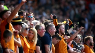 Wolves fans celebrate at Bolton