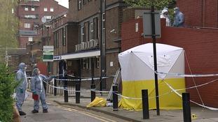 Forensic teams investigate fatal stabbing in Finsbury Park.