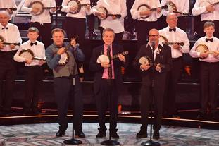 Ed Balls, Frank Skinner and Harry Hill perform for the Queen (