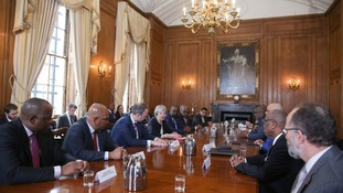Theresa May hosts a meeting with Commonwealth leaders, Foreign Ministers and High Commissioners in relation to the Windrush generation.