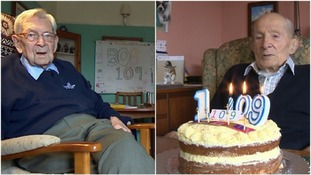 Robert Weighton and Alfred Smith pictured on their 109th birthday.
