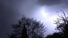 Lightning strikes across the south as powerful thunderstorm hits