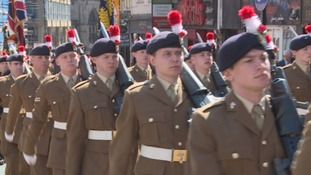 Parade through Newcastle to mark Fusilier 50